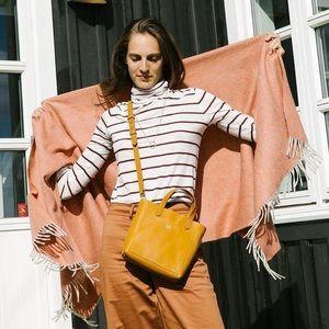Madewell Whisper Cotton Stripe Turtleneck Top XXS